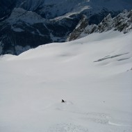 First tracks on Toula Glacier from the ladders