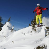 Still fresh tracks in Kicking Horse although it has not snowed for a week