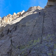 Soon reaching the ledges on Pilier Cordier