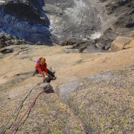 Famous off-width pitch, high up on Cordier Pillar