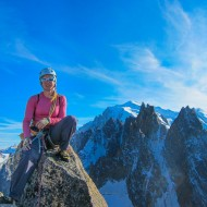 Grand Charmoz summit and views over to Blatiere with Mt Blanc behind