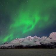 Aurora Borealis over Lenangstindane