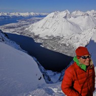 Forholttinden at the top of the Godmother of all couloirs