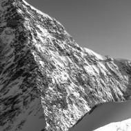 A knife sharp snow ridge starts Cresta Sella