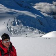 On il Naso on 4275m, Gniffetti and Mantova hut far below