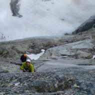 Alpine rock climbing on trad gear