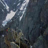 Alpine ridge climbing