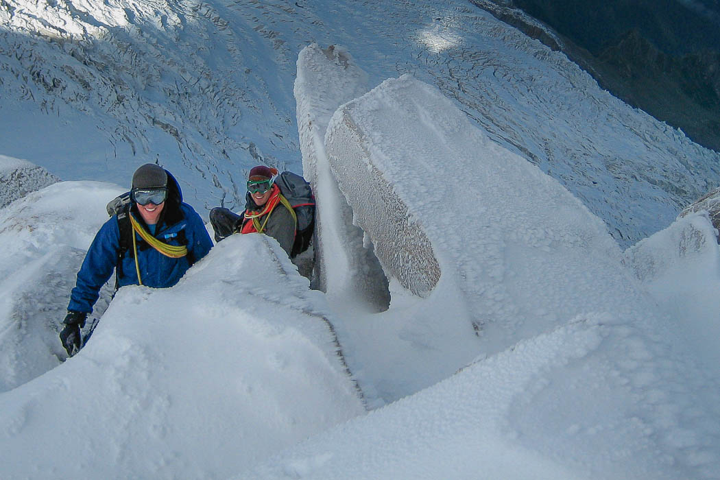Making the track on Cosmiques ridge