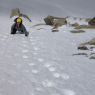 Leading up snowy pitch on Pt Lachenal