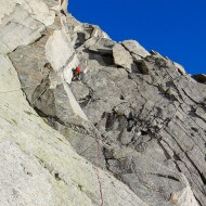 Attacking the rock from the col by the Rognon, aiming for crest of the E ridge of Aig du Plan