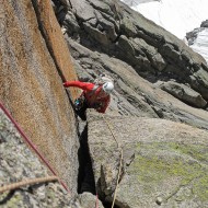 Great crack on the east ridge of Aig du Plan