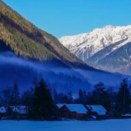 Metallic blue smog in Chamonix