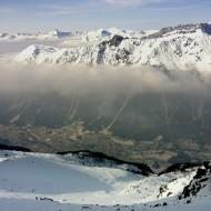 Brown smog captured below the clouds