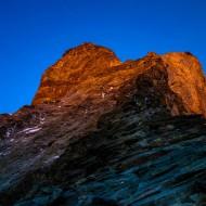 First sun onto the upper part of the Hornli ridge