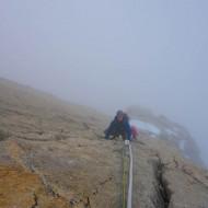 Climbing the fixed lines on Dent du Geant, great prep for Matterhorn