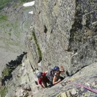 Rock climbing preparation in Aiguilles Rouges