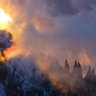 Sunrise behind Mt Blanc du Tacul