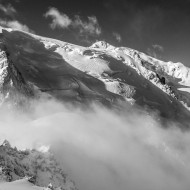 The Cosmiques hut with Mt Blanc du Tacul behind