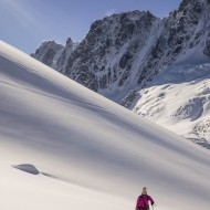 Skinning up from Argentiere glacier