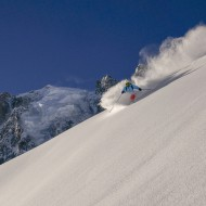 Skiing great snow down to the Argentiere glacier