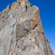 Coming off Grepon to the Nantillons glacier involves a couple of shorter rappels, then down-climbing along ledges