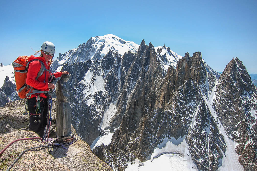 Views of Mt Blanc and the whole traverse of les Aiguilles de Chamonix from Aig du Midi to Blatière.