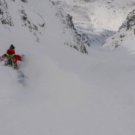 Wide couloir and perfect snow