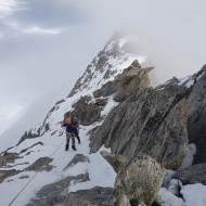 Down climbing from Aig d'Entreves