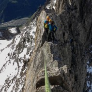 Airy climbing on the Traverse of Aiguille d'Entreves
