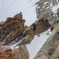 Early season and snowy ledges on Midi south face