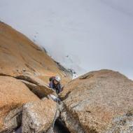 Voie Rebuffat, the most famous route on Aiguille du Midi south face