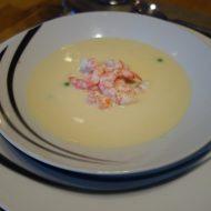 Homemade schrimp soup at Lyngen ski lodge