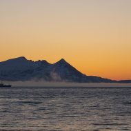 Sunset and sunrise in one - arctic night in spring