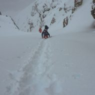 Boot packing and couloir skiing