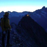 Leaving Mittellegi hut before dawn